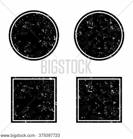Grunge Black Round And Square Frames, Distress Banners. Grunge Shapes, Vector Set