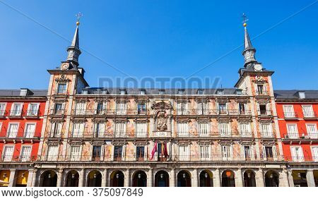 Town Hall At The Plaza Mayor Or Main Square, A Central Plaza In The City Of Madrid, Spain.