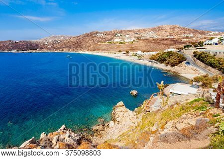 Elia Beach Aerial Panoramic View From Viewpoint On The Mykonos Island, Cyclades In Greece