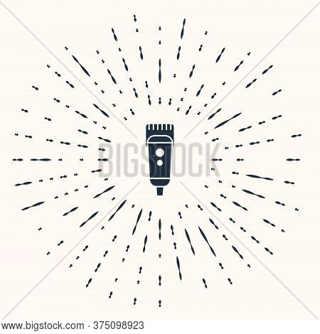 Grey Electrical Hair Clipper Or Shaver Icon Isolated On Beige Background. Barbershop Symbol. Abstrac