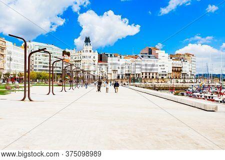 Embankment In The Centre Of A Coruna City In Galicia, Spain