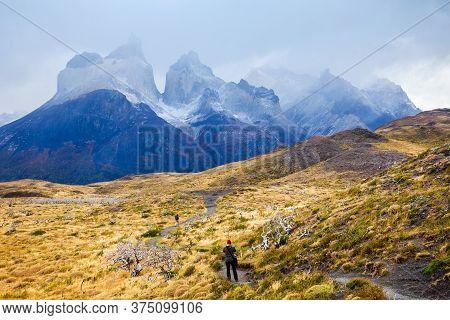 Cuernos Del Paine Mountains In Torres Del Paine National Park. Torres Del Paine Is A National Park E