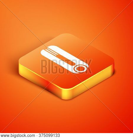 Isometric Curling Iron For Hair Icon Isolated On Orange Background. Hair Straightener Icon. Vector I