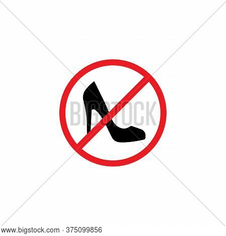 Black Female Shoe With High Heel In Red Crossed Circle. Forbidden, Unallowed Slipper With Spike Heel