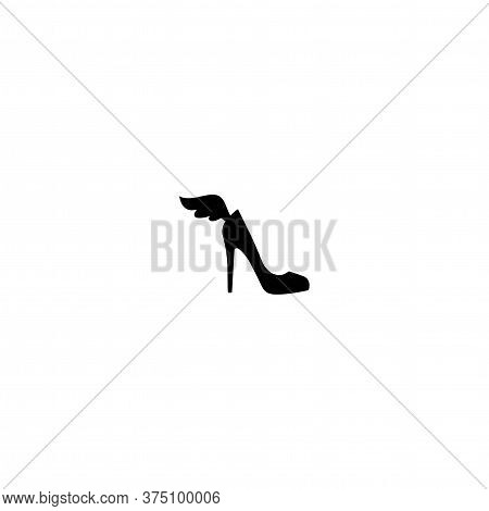 Female Shoe With High Heel And Wing. Elegant Black Slipper With Spike Heel On While Background.