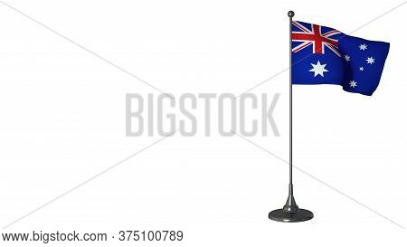 Australia Small Flag Fluttering On A Flagpole. White Screen Background, 3d Rendering