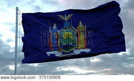 Flag Of New York Waving In The Wind Against Deep Beautiful Clouds Sky. 3d Rendering