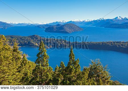 Nahuel Huapi National Park Aerial View From The Cerro Campanario Viewpoint In Bariloche, Patagonia R