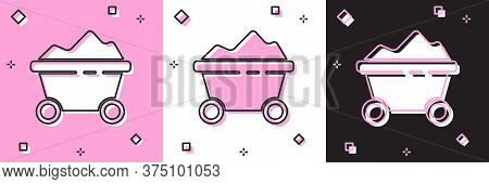 Set Coal Mine Trolley Icon Isolated On Pink And White, Black Background. Factory Coal Mine Trolley.