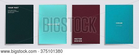 Semicircle Lines Halftone Grid Covers Vector Set. Tech Brochure Title Page Layouts. Notepad, Magazin