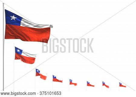 Cute Any Holiday Flag 3d Illustration  - Chile Isolated Flags Placed Diagonal, Illustration With Sel
