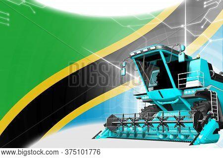 Digital Industrial 3d Illustration Of Blue Advanced Rural Combine Harvester On Tanzania Flag - Agric