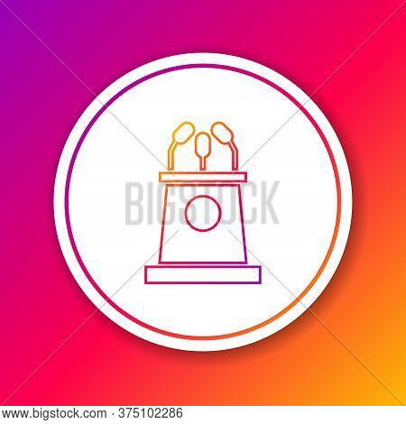 Color Line Stage Stand Or Debate Podium Rostrum Icon Isolated On Color Background. Conference Speech