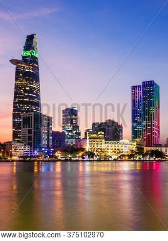 Ho Chi Minh City Skyline Aerial Panoramic View At Night. Ho Chi Minh Is The Largest City In Vietnam.