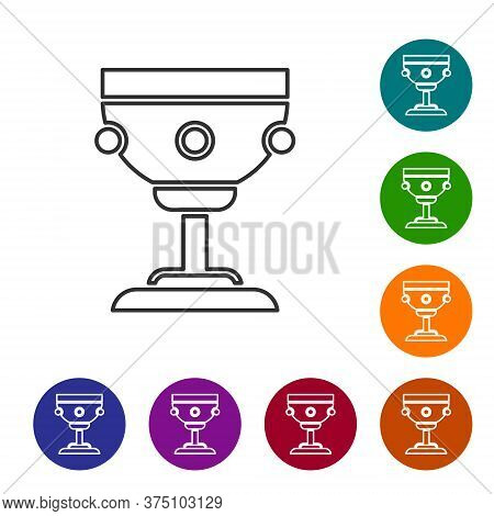 Black Line Christian Chalice Icon Isolated On White Background. Christianity Icon. Happy Easter. Set