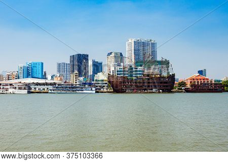 Ho Chi Minh City Skyline Aerial Panoramic View. Ho Chi Minh Is The Largest City In Vietnam.