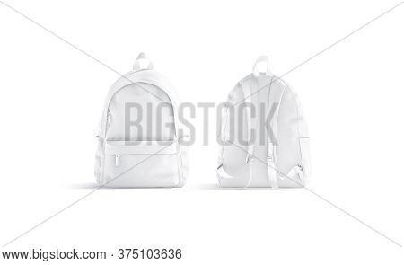 Blank White Backpack With Zipper And Strap Mockup, Front Back View, 3d Rendering. Empty Canvas Schoo