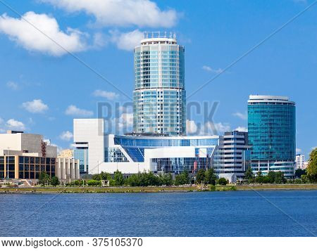 Yekaterinburg City Center Skyline And Iset River. Ekaterinburg Is The Fourth Largest City In Russia