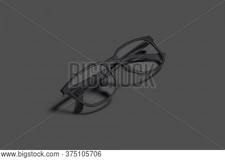 Blank Black Eye Glasses With Frame Mock Up, Dark Background, 3d Rendering. Empty Reading Or Protect
