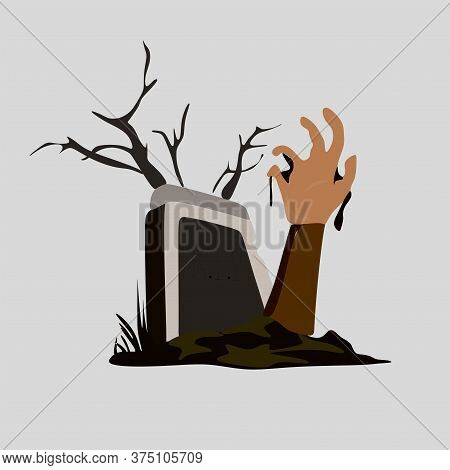Halloween Background With A Zombie Hand In The Cemetery.a Zombie Hand Crawls Out Of The Grave And Th