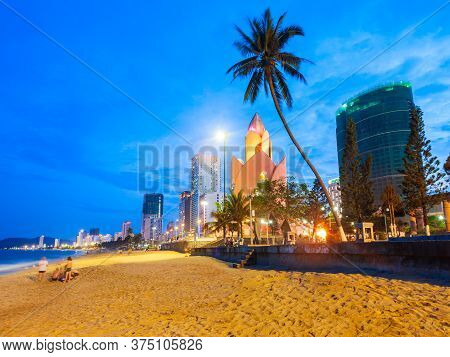 Nha Trang City Beach At The Sunset, A Public Beach Located In The Centre Of Nha Trang In Vietnam