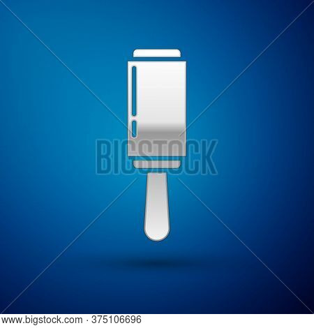 Silver Adhesive Roller For Cleaning Clothes Icon Isolated On Blue Background. Getting Rid Of Debris,