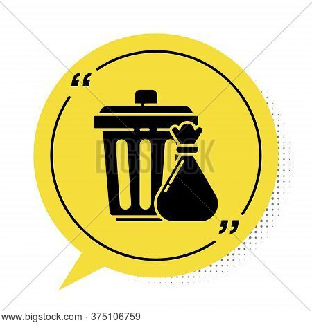 Black Trash Can And Garbage Bag Icon Isolated On White Background. Garbage Bin Sign. Recycle Basket
