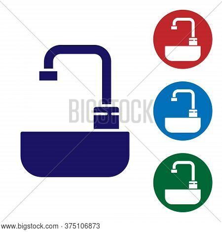 Blue Washbasin With Water Tap Icon Isolated On White Background. Set Icons In Color Square Buttons.