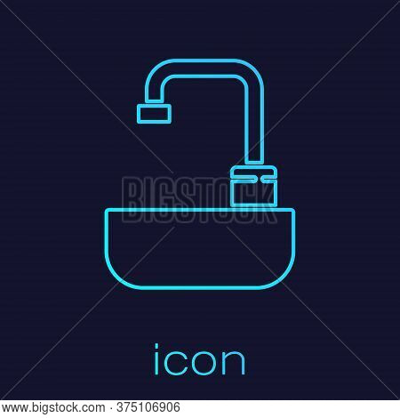 Turquoise Line Washbasin With Water Tap Icon Isolated On Blue Background. Vector Illustration