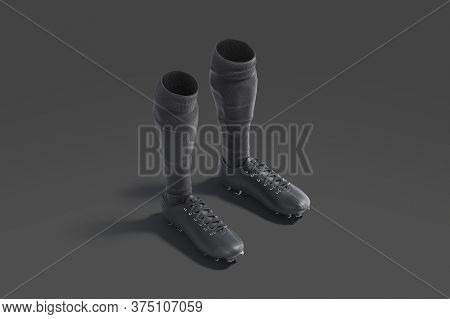 Blank Black Soccer Boots With Socks Mockup, Dark Background, 3d Rendering. Empty Leather Sneakers Wi