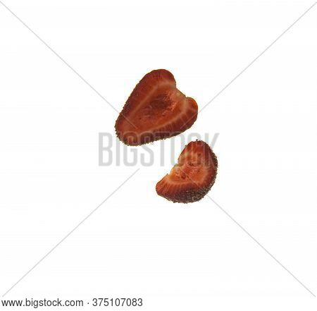 View Of Strawberry Slices. Beautiful Strawberry Slices Close Up. Fruit Background