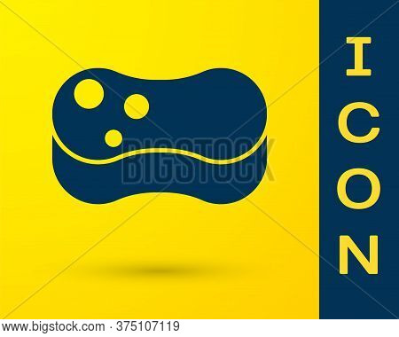 Blue Sponge Icon Isolated On Yellow Background. Wisp Of Bast For Washing Dishes. Cleaning Service Co