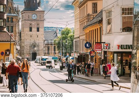 Oslo, Norway - June 24, 2019: People Walking Near Oslo Cathedral In Norway, Formerly Our Saviors Chu