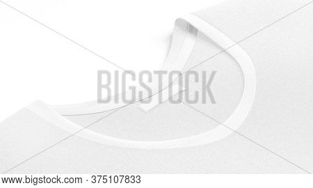 Blank White T-shirt Collar With Narrow Rectangular Label Mock Up, 3d Rendering. Empty Identity Stick