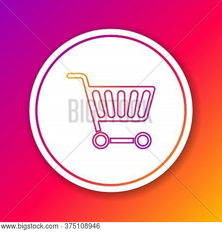 Color Line Shopping Cart Icon Isolated On Color Background. Online Buying Concept. Delivery Service