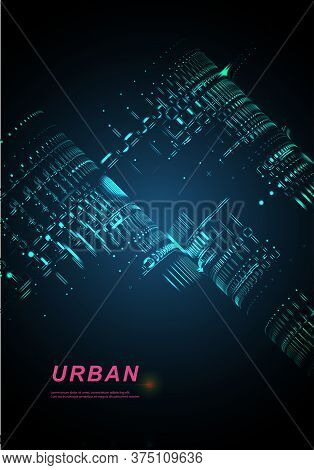 Skyline City.vector Night City On A Luminous Background