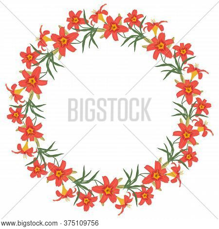 Floral Round Frame From Lilies Flowers. Orange Flowers Of Lilies With Buds And Green Leaves On A Whi