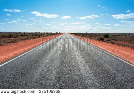 An image of the longest straight road in Australia