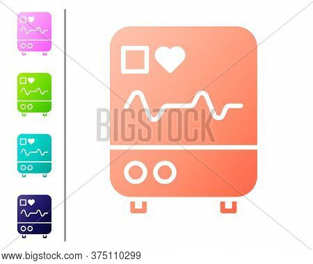 Coral Computer Monitor With Cardiogram Icon Isolated On White Background. Monitoring Icon. Ecg Monit