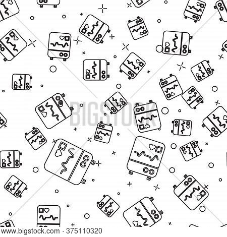 Black Line Computer Monitor With Cardiogram Icon Isolated Seamless Pattern On White Background. Moni