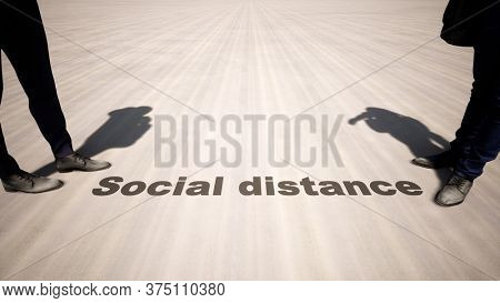 Concept or conceptual 3d illustration of a man to man meeting following social distance guidelines on a wooden floor background. A metaphor for the change in company relations during the lockdown.