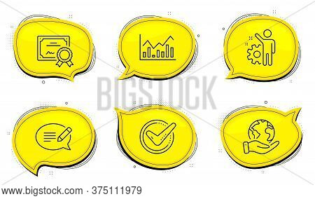 Message Sign. Diploma Certificate, Save Planet Chat Bubbles. Employee, Confirmed And Infochart Line