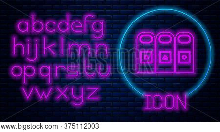 Glowing Neon Trash In Garbage Cans With Sorted Garbage Icon Isolated On Brick Wall Background. Recyc