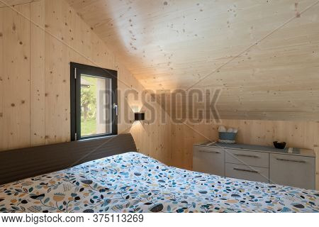 Interior of a small Swiss chalet