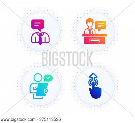 Customer Survey, Exhibitors And Support Service Icons Simple Set. Button With Halftone Dots. Swipe U