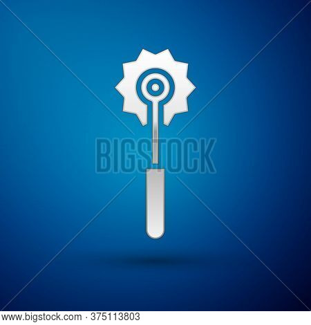 Silver Pizza Knife Icon Isolated On Blue Background. Pizza Cutter Sign. Steel Kitchenware Equipment.