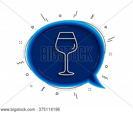 Wine Glass Line Icon. Chat Bubble With Shadow. Bordeaux Glass Sign. Thin Line Bordeaux Glass Icon. V