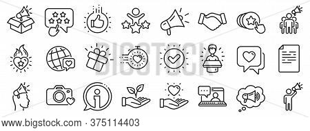 Influence People, Megaphone And Representative. Brand Ambassador Line Icons. Handshake, Influencer M