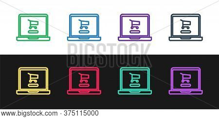 Set Line Shopping Cart On Screen Laptop Icon Isolated On Black And White Background. Concept E-comme