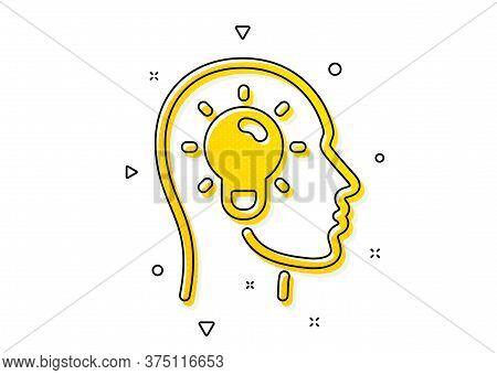 Lightbulb Sign. Idea Head Icon. Core Value Symbol. Yellow Circles Pattern. Classic Idea Head Icon. G